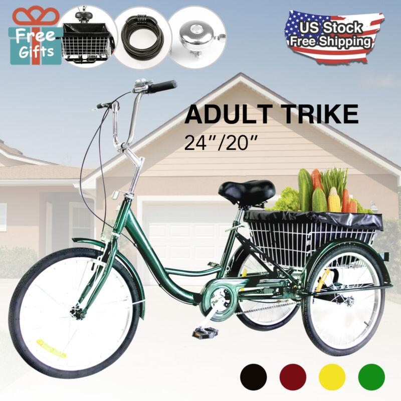"24""/20"" Adult Tricycle Trike w/Large Basket Bell Lock Brake"