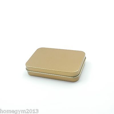 Lot of 5 - 4oz GOLD Rectangular Slip On Lid Survival Metal Tin Container Box Kit ()