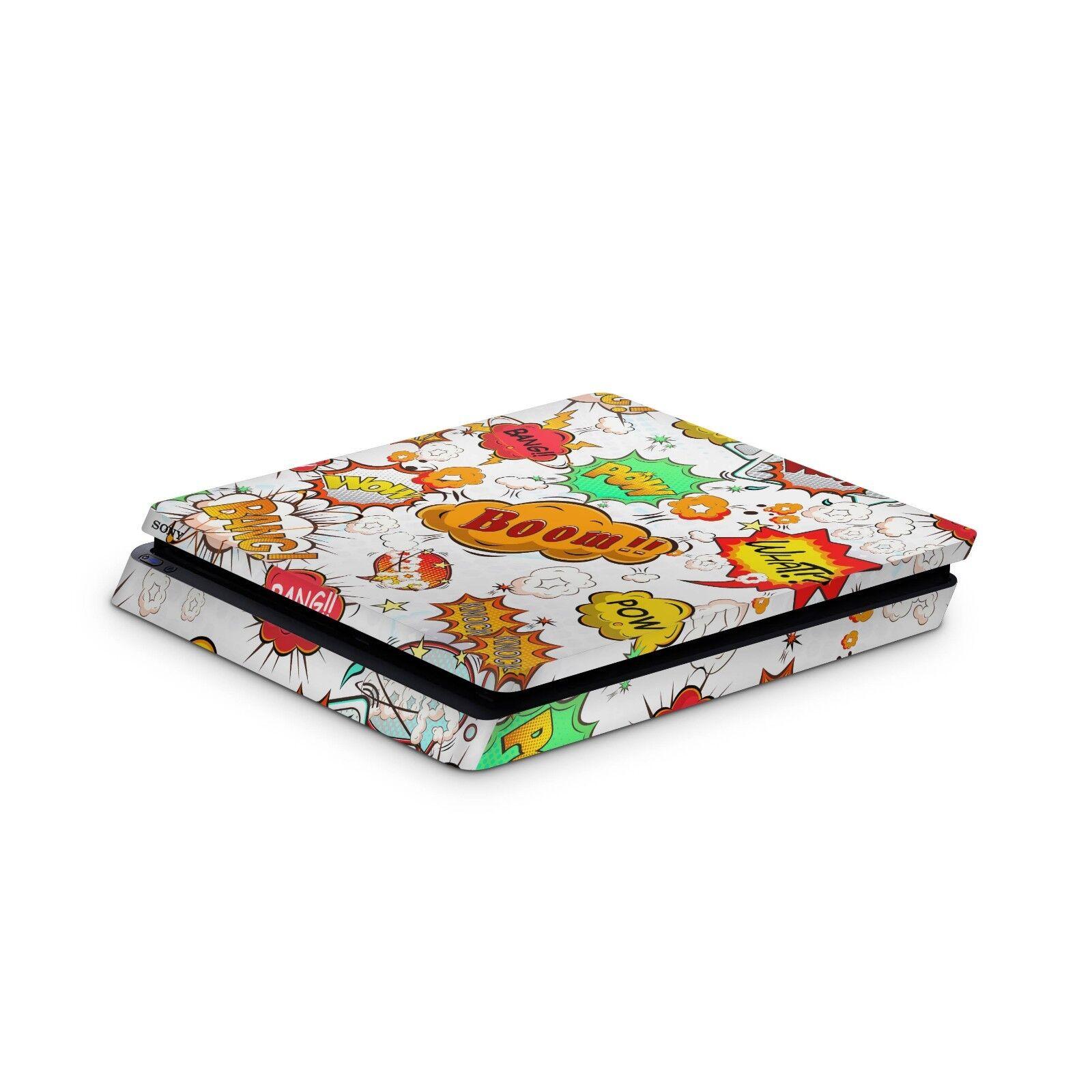 Sony Playstation 4 Slim Aufkleber PS4 Skin Design Sticker Skins Comics Weiss
