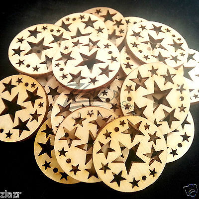 """50 1.25""""x1/8"""" Wooden Christmas STAR Circle Ornament Date Board Craft holes Disc"""