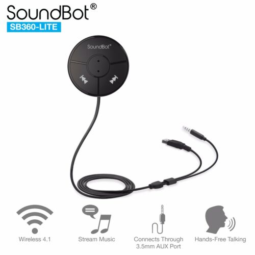 SoundBot SB360-LITE Bluetooth 4.0 Car Kit Hands-Free Wireless Talk/Music Stream