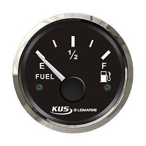 KUS Stainless Steel Bezel Fuel Level Gauge Dia 52mm DC 12V/24V Mari