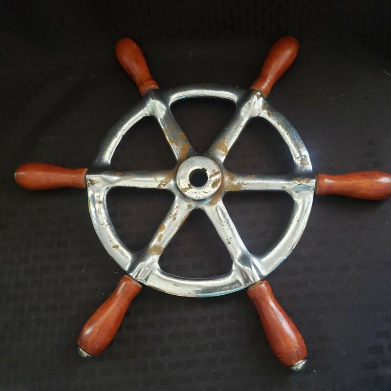 "Rare 14"" Perko Ship Steering Wheel Wood Brass Antique Nautical Maritime Relic"
