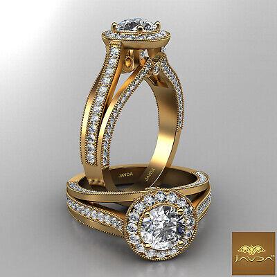 Split Shank Bezel Set Round Diamond Engagement Milgrain Ring GIA F VS1 1.62 Ct