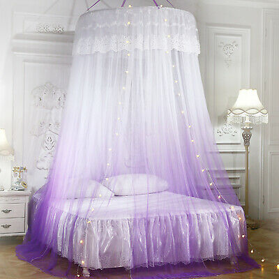 Canopy Bed Curtains w/ Lights Round Dome Mosquito Net for King Queen Full Bed