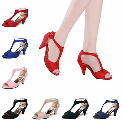 Women's Open Toe Ankle T-Strap Shoes Mid Heel Sandals Party Bridal Wedding Pumps Mid Heel Bridal Shoes