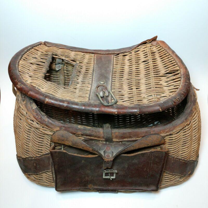 Vintage Wicker Woven Basket & Leather Fishing Creel w/ Front Pocket & Strap