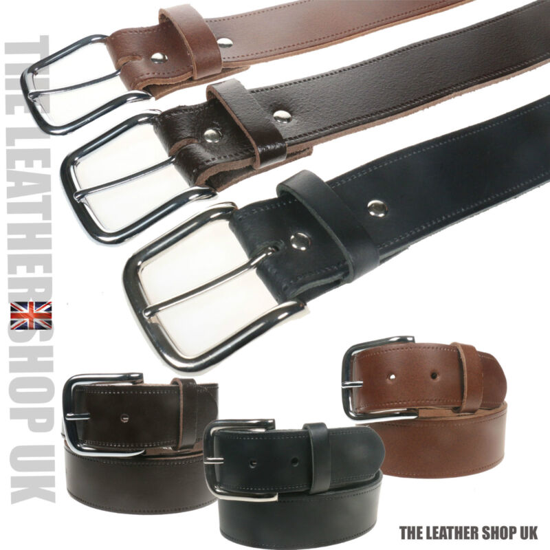"40mm New Genuine 1.5/"" Full Leather Mens Leather Belt Made in the UK"