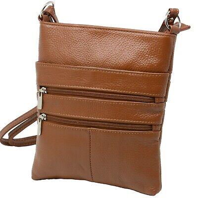Genuine Leather Organizer Purse Mini Handbag Travel Bag Zippered Shoulder Purse Organized Travelers Leather