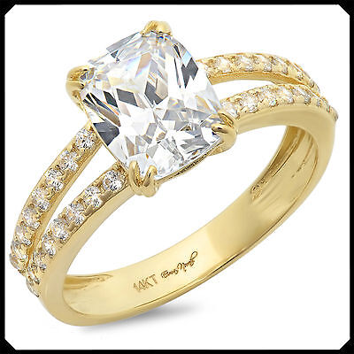 Linda 3.30CT Synthetic Lab Diamond Solid 14K Yellow GOLD Engagement Wedding Ring