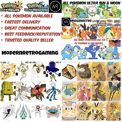 Pokemon Ultra Sun   Ultra Moon Shiny 6Iv Starters Any Pokemon Nintendo 3Ds Oras