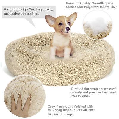 Large Shaggy Fluffy Pet Bed Dog Cat Donut Cuddler Cushion Mats Machine -