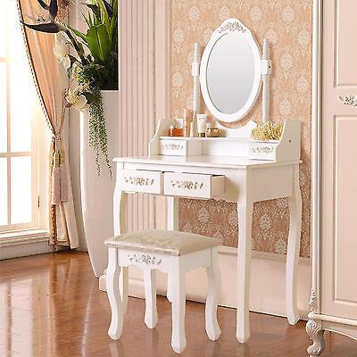 White Elegant Vanity Makeup Dressing Table Wood Desk Set Stool &4 Drawer&Mirror