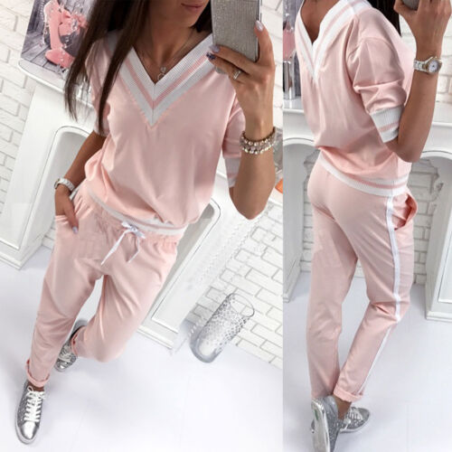 Women 2pcs Tracksuit Hoodies Sweats Sweatshirt Pants Sets Sport Wear Casual Suit