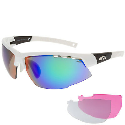 Damen Radbrille Sportbrille Fahrradbrille mit Wechselscheiben rosa klar blau