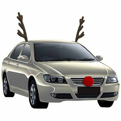 Rudolph Car Costume Kit Reindeer Antlers and Nose Accessories Christmas Fun (Christmas Car Accessories Reindeer Antlers)