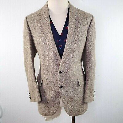 Vtg Harris Tweed Suit Jacket Blazer Mens 40R Herringbone Downton Scottish Wool