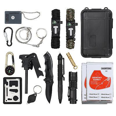 Kit di Sopravvivenza Multiuso Kit Emergenza 16pz per Campeggio Caccia Escursioni
