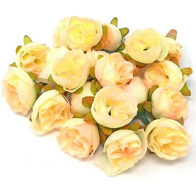 Ivory Pink Rose Bud Decorative Synthetic Flowers (Faux Silk) - UK SELLER