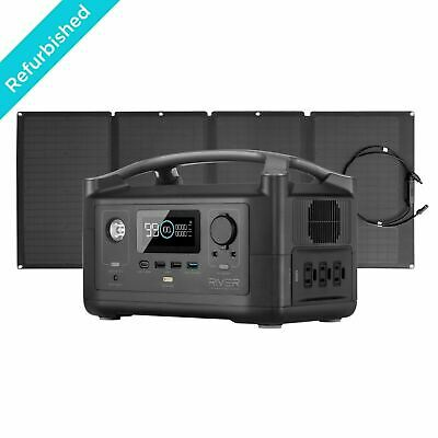 EcoFlow RIVER Power Station+110W Solar Panel Move with Power Outdoor Refurbished