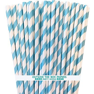 Paper Straws - Light Blue and White Stripe - 100 Pk - Outside the Box Papers - White Straws