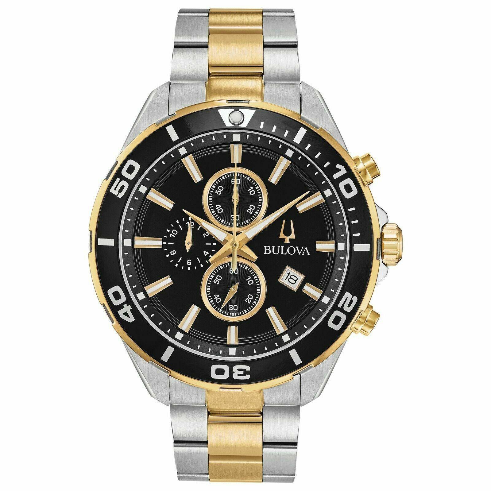 New Bulova Men's Black Chronograph Two-Tone Bracelet Watch 9