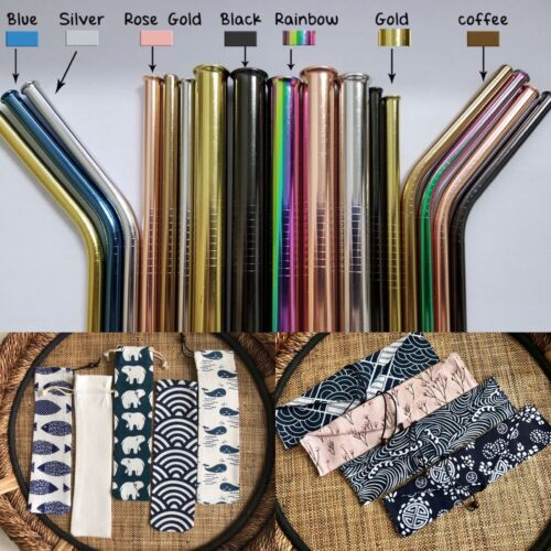 Reusable Metal Straws, Organic Bamboo Reusable Straws, Straw Bags - 20% donated