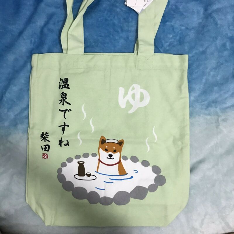 Shiba inu dog Shibatasan sholder tote bag Onsen JAPAN cotton NEW (US Fast Ship)