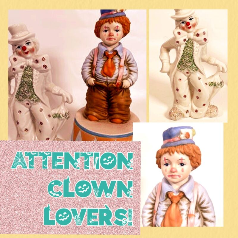 clown figurine lot Ceramic Music Box King Of The Road Made In Italy Glitter