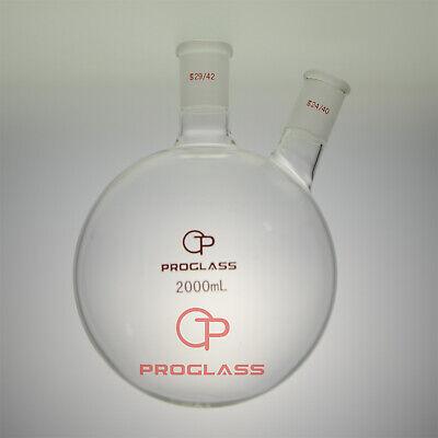 Proglass Two Necks Round Bottom Flask 2000ml 2942 And 2440hand Blowering