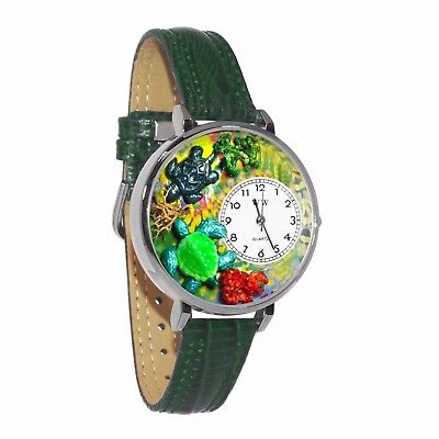 Whimsical Watches Unisex U0140003 Turtles Hunter Green Leather Watch
