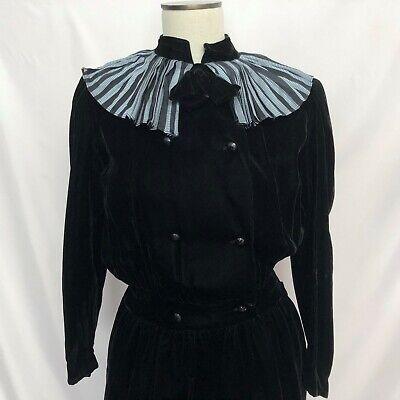 Valentino Miss V Black Velvet Dress Pleated Collar Sz 42 US Sz 6 Vtg Italian