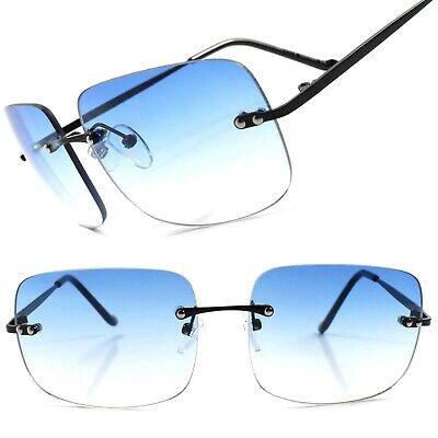 Light Gradient Blue Lens Retro 80s Fashion Mens Womens Rimless Square (Blue Sunglasses Women)