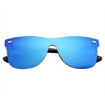 Mens Womens Mirrored Rimless Color Lens Reflective Retro Vintage Flat (Sunglass Mirror)