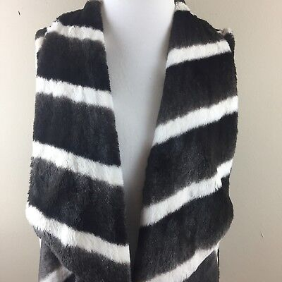 SLINKY BRAND Womens Faux Fur Striped Black White Open Front Topper Vest Sz M ()