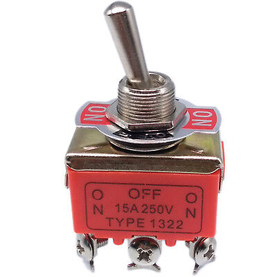 Us Stock On-off-on Dpdt 6 Pin Terminals Latching Toggle Switch 1322 Ac 250v 15a