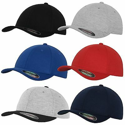FLEXFIT DOUBLE JERSEY 2-TONE CAP grey black Contrast Baseball Hat Kappe Mütze 6P