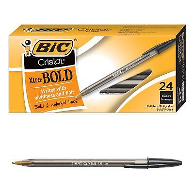 Bic Cristal Xtra Bold Ballpoint Pen Bold Point 1.6mm Black 24-count
