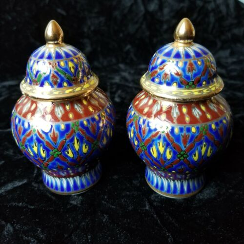Pair of Small Benjarong Porcelain Ginger Jar Containers Blue & Gold