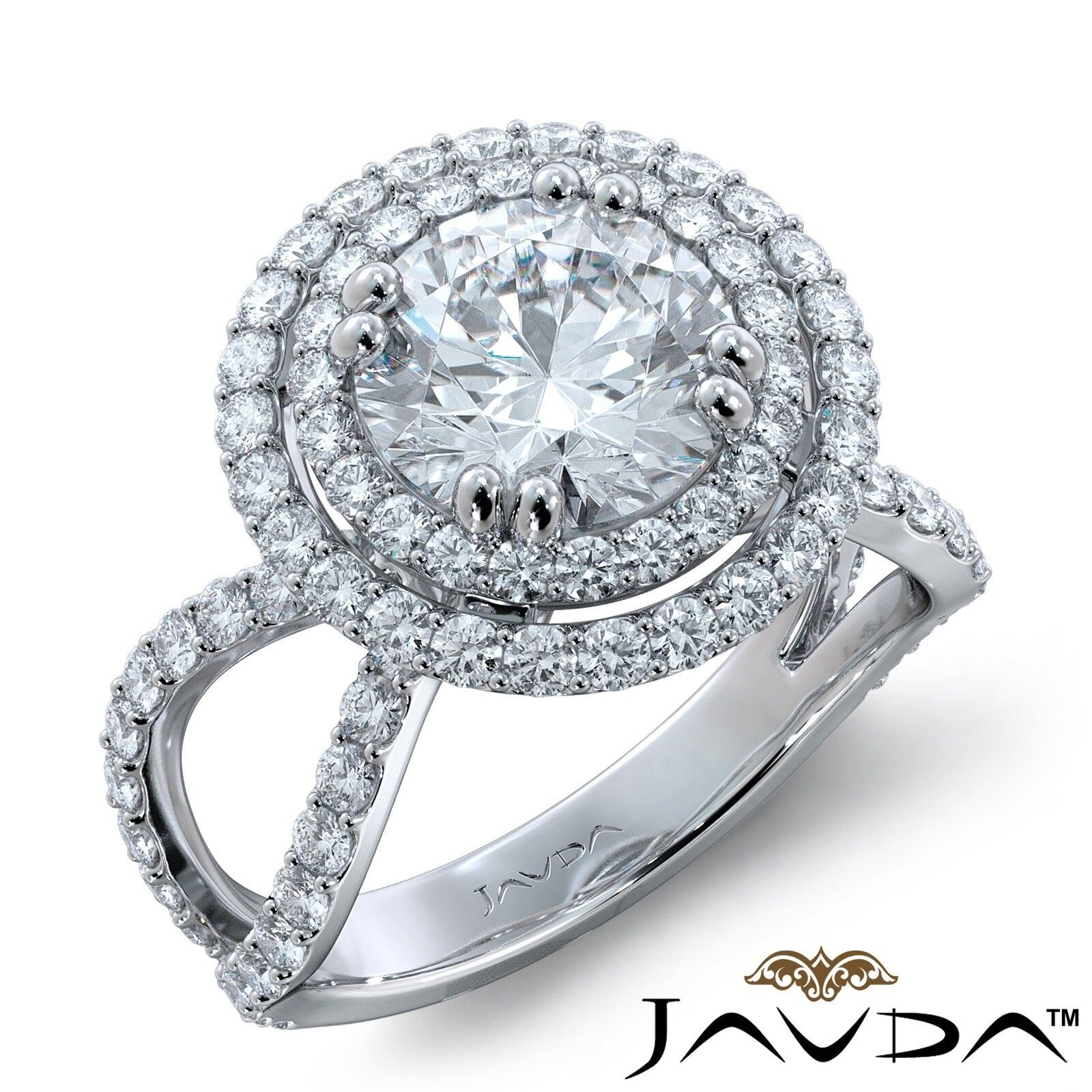2.5ctw Split Shank Double Halo Round Diamond Engagement Ring GIA H-VVS1 W Gold