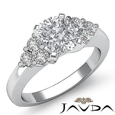 3 Stone Cushion Diamond Lustrous Engagement Ring GIA H VS2 14k White Gold 1.3 ct