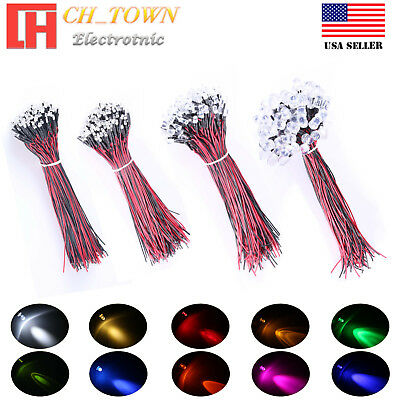 20pcs 1.8mm 2mm 3mm 5mm 8mm 10mm Pre Wired Led Dc9-12v Lights Emitting Diodes