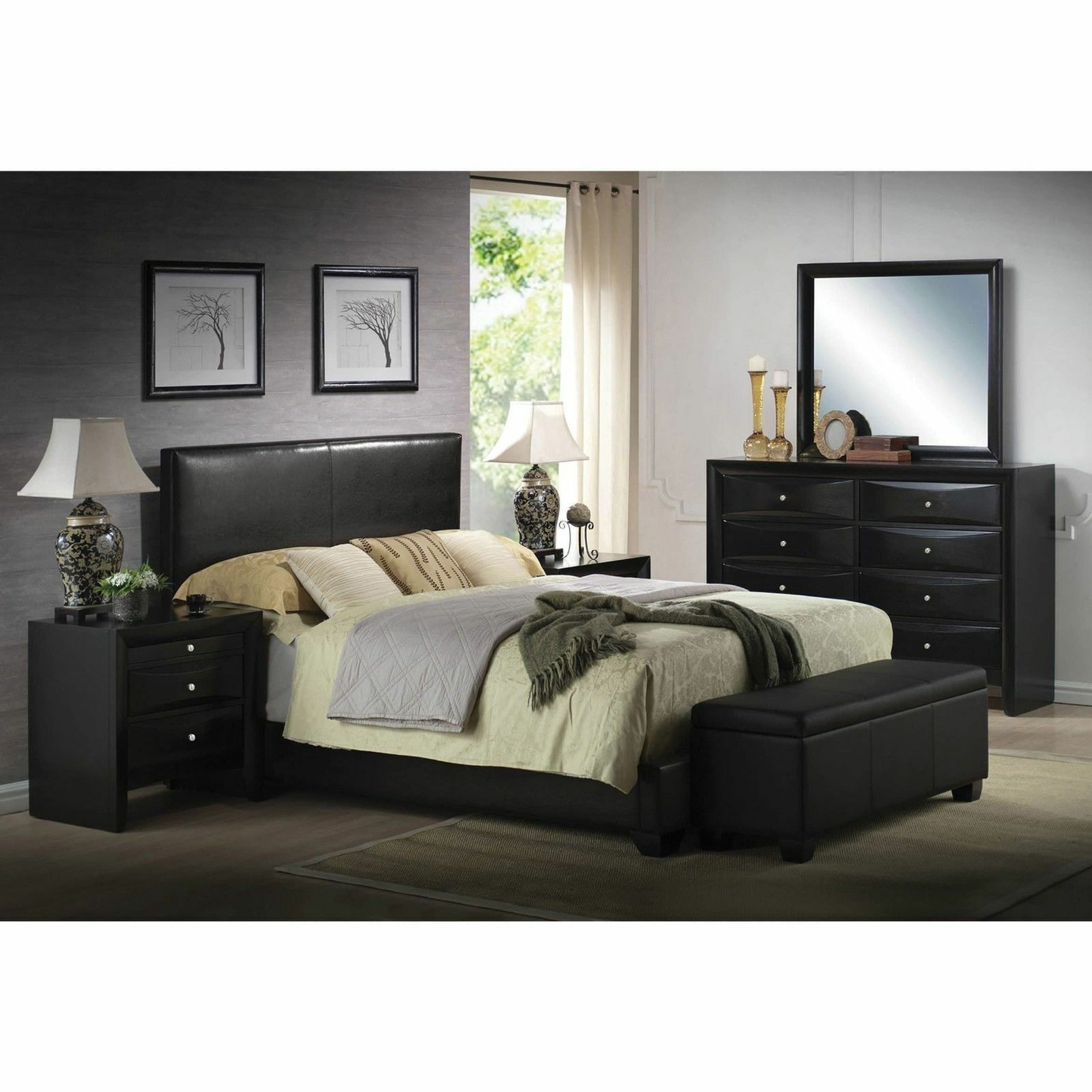 Platform KING Size Bed Black Leather Headboard Bedroom Furni