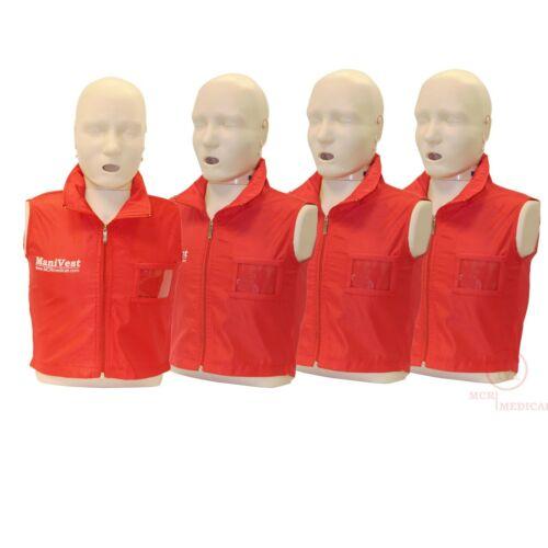 4-Pack of Vests For Prestan Professional Series Adult CPR Manikins, MCR Medical