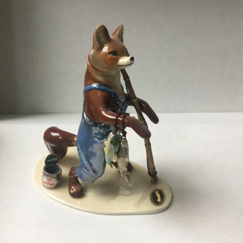 Hagen-Renaker Vintage Ceramic Specialty Papa Fishing Fox, #3307, excellent!