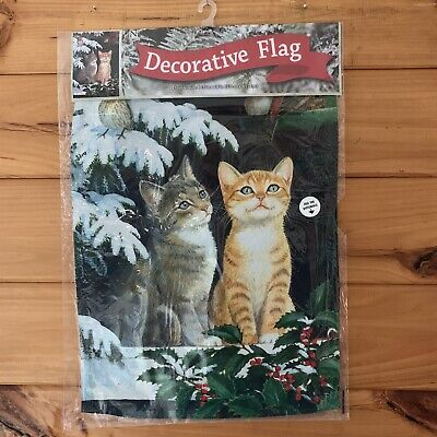 Decorative Double-Sided Winter Cat Theme Outdoor Flag *FREE SHIPPING*