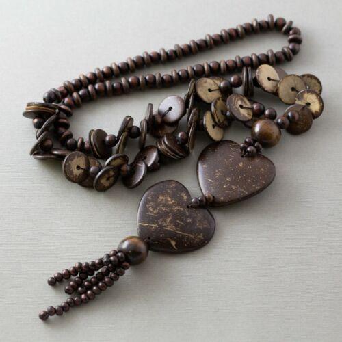 Vintage Coconut Shell Wood Bead Beaded Tropical Heart Long Boho Hippie Necklace
