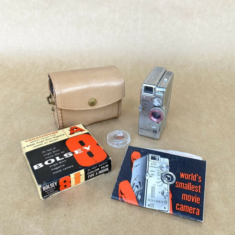 Bolsey Subminiature Super 8 Movie Camera W/ Leather Case, Filters & Film