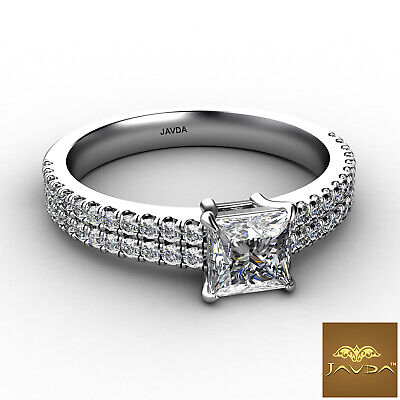 Double Prong Princess Cut Diamond Engagement Ring GIA Certified F Color SI1 1Ct 1