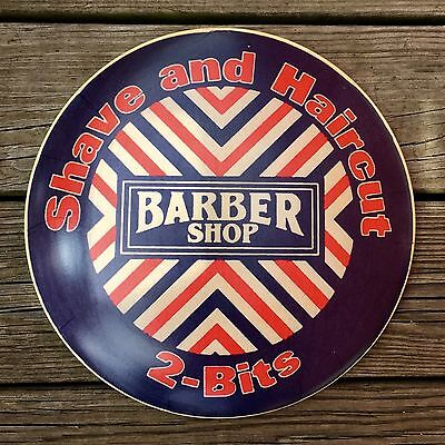 """Barber Shop SHAVE AND HAIRCUT, 2-BITS Vintage 12"""" Metal Dome Sign"""